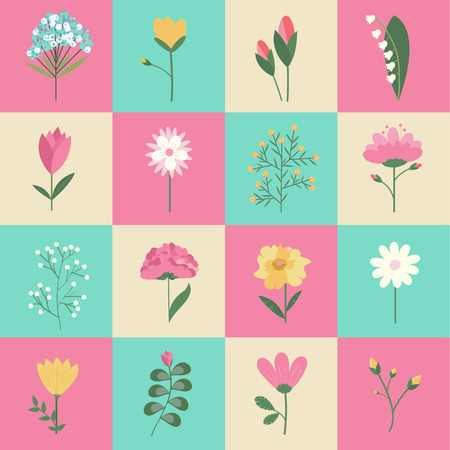 Set of pastel colors flowers illustrations concept. Vector elements for design