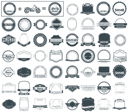 Ilustración de Make your labels or Logotypes concept set. Retro typography, badges, logos, borders, ribbons, emblem, stamp, and Objects. Vector design templates - Imagen libre de derechos