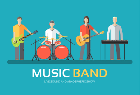 Illustration pour Music band in flat design background concept. Melodic musical concert quartet of musicians. Icons for your product or illustration, web and mobile applications - image libre de droit