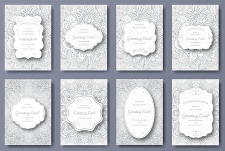 Illustration pour Set of wedding card flyer pages ornament illustration concept. Vintage art traditional, Islam, arabic, indian, ottoman motifs, elements. Vector decorative retro greeting card or invitation design. - image libre de droit