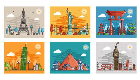 Set of ornamental travel on ethnic floral style design. Architecture art with logo, label. Historical monuments of France,  Japan, Egypt, England, Italy, USA