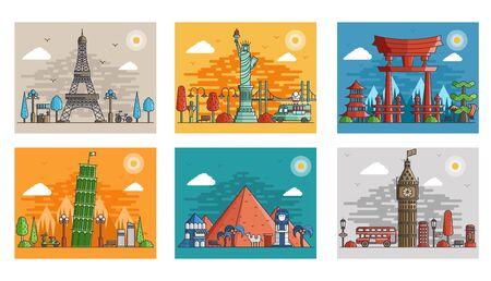 Ilustración de Set of ornamental travel on ethnic floral style design. Architecture art with logo, label. Historical monuments of France,  Japan, Egypt, England, Italy, USA - Imagen libre de derechos