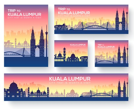 Illustration pour Set of kuala lumpur landscape country ornament travel tour concept. Culture traditional, magazine, book, poster, abstract, element. Vector decorative ethnic greeting card or invitation  - image libre de droit