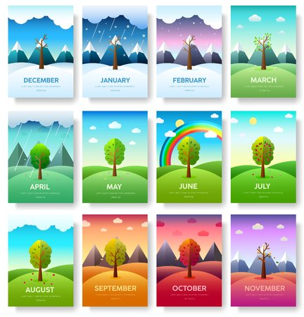 Illustration pour 12 Months of the Year. Weather year information set. Seasons banners. Infographic concept background. Layout illustrations template pages with typography  - image libre de droit