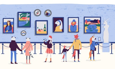 Illustration pour People enjoying artworks in flat cartoon style. Visitors of classic art gallery vector illustration. Museum viewing exhibits colorful concept. Tourists looking at paintings at exhibition. - image libre de droit