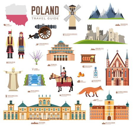 Illustration pour Country Poland travel vacation guide of goods, places and features. Set of architecture, fashion, people, items, nature background concept. Infographic template design on flat style - image libre de droit