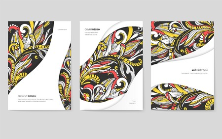 Abstract vector brochure cards set. Print art template of flyear, magazines, posters, book cover, banners. Colorful design invitation concept background. Layout ornament illustrations modern