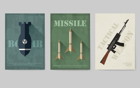 Cards of military equipment cards. Army template of flyear, Magazines, posters, book concept. Special forces items on grunge background. Layout illustrations pages with typography