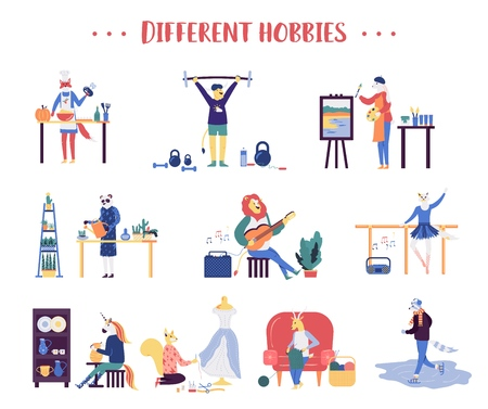 Illustration pour Colorful flat style of various animals doing different sports and hobbies on white background. Set of animals having different hobbies - image libre de droit