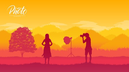 Illustration pour A photographer with equipment makes a photo session with models in nature concept. Take pictures or shoot video in the wild life design - image libre de droit