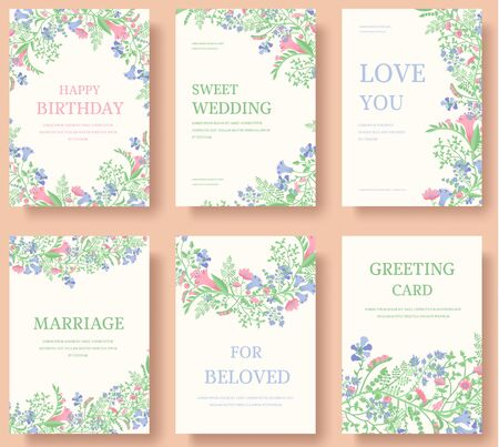 Illustration pour Set of flower wedding ornament concept. Art traditional, magazine, book, poster, abstract, element. Vector layout decorative ethnic greeting card or invitation design background - image libre de droit