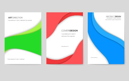 Abstract vector brochure cards set. Art template of flyer, magazines, posters, book cover, banners. Colorful design invitation concept background. Layout ornament illustrations modern page
