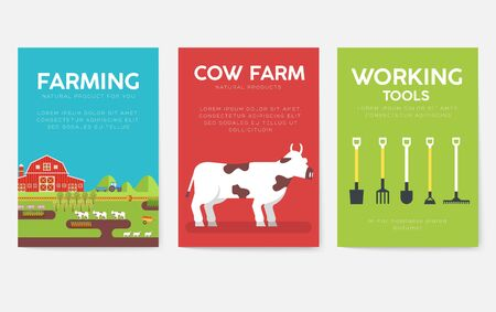 Farm information cards set. Nature template of flyer, magazines, posters, book cover, banners. Eco infographic concept background. Layout illustrations modern pages with typography text