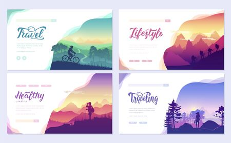 Illustration for Rest and vacation, hike and travel, walk on the slopes of the mountains - Royalty Free Image