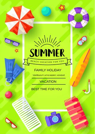 Illustration pour summer vecetion time vector brochure cards set. Ecology template of flyear, magazines, poster, book cover, banners. Outdoor invitation concept background. Layout illustration modern page background - image libre de droit