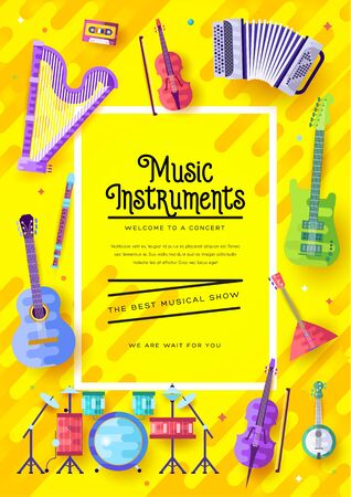 Music instruments vector brochure cards set. Audio tools template of flyear, magazines, poster, book cover, banners. Concert invitation concept background. Layout illustration modern page