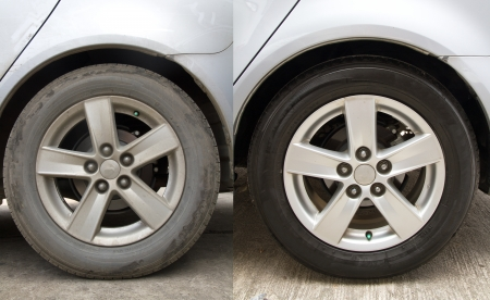 Before and after washing the car clean