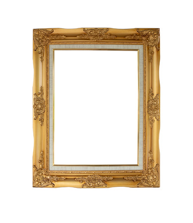 Photo pour Luxury vintage picture frame is color gold isolated on white background with copy space. clipping path in picture. - image libre de droit