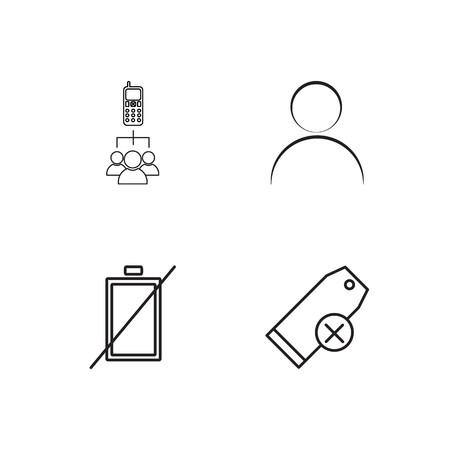 Ilustración de business simple outlined icons set - Imagen libre de derechos