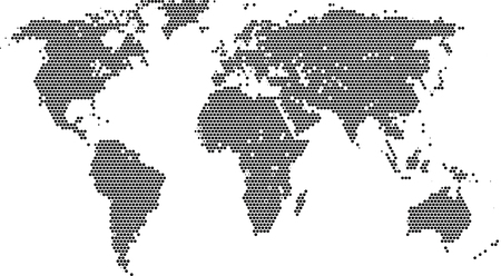 Vector illustration of world with round dots