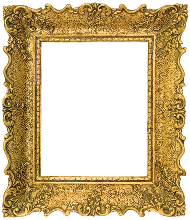 Old gilded golden wooden frame isolated
