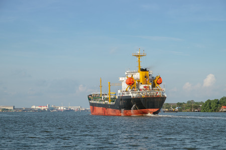 Photo for A chemical tanker ship designed to transport liquid chemicals and petroleum products. Chao Phraya River, Bangkok, Thailand. - Royalty Free Image