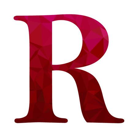 Red Alphabet r Polygon Style, Creative Design Templates