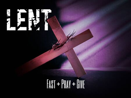 Photo for Lent Season,Holy Week and Good Friday concepts - text 'lent fast pray give' with cross shaped in purple vintage background - Royalty Free Image