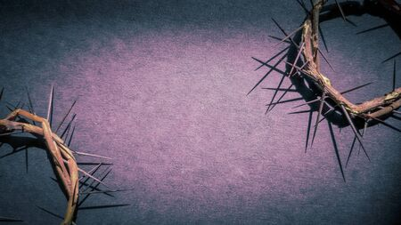Photo for Lent Season,Holy Week and Good Friday concepts -image of crowns of thorns in purple vintage background - Royalty Free Image