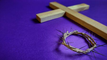 Photo for Lent Season,Holy Week and Good Friday concepts - image of crown of thorns in purple vintage background - Royalty Free Image