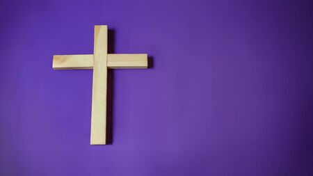 Photo for Lent Season,Holy Week and Good Friday concepts - image of wooden religious cross in purple vintage background - Royalty Free Image