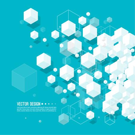 Illustration pour Abstract background with transparent cubes. - image libre de droit