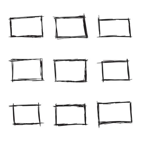 Illustration pour Set hand drawn rectangle, felt-tip pen objects. Text box and frames. Vector illustration. - image libre de droit