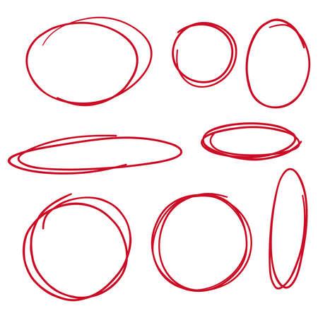 Illustration for Set hand drawn ovals. - Royalty Free Image