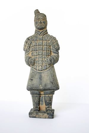 Front view of a standing terracotta worrier foot solider against a white background