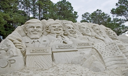 MYRTLE BEACH, SC - JANUARY 2012 - A sand sculpture of faces of the six GOP presidential candidates prior to the national debate in Myrtle Beach, SC.