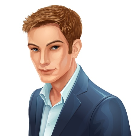 vector portrait of a young stylish man