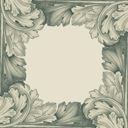 Illustration pour vintage border frame engraving with retro ornament pattern in antique rococo style decorative design - image libre de droit