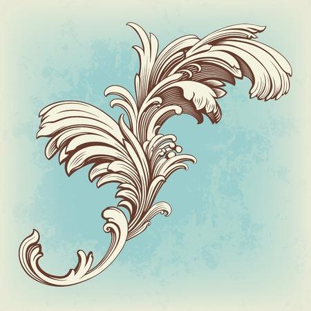 flower pattern engraving scroll motif for vintage design card vector