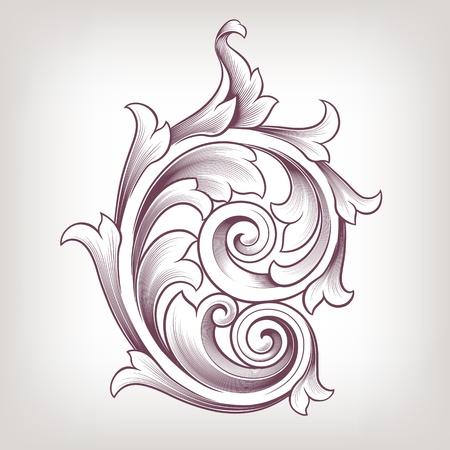 Vintage baroque scroll design element flower motif pattern