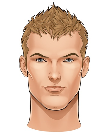 Vector face of handsome young man