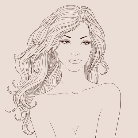 Fashion beautiful woman with long wavy hair. Vector