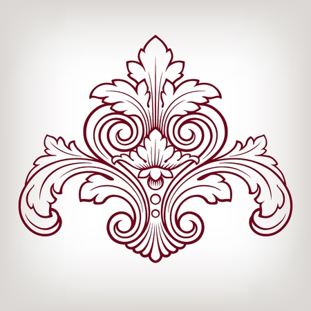 vintage Baroque damask  design frame pattern element engraving retro style