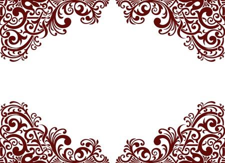 vintage baroque border frame card background flower motif arabic retro pattern ornate