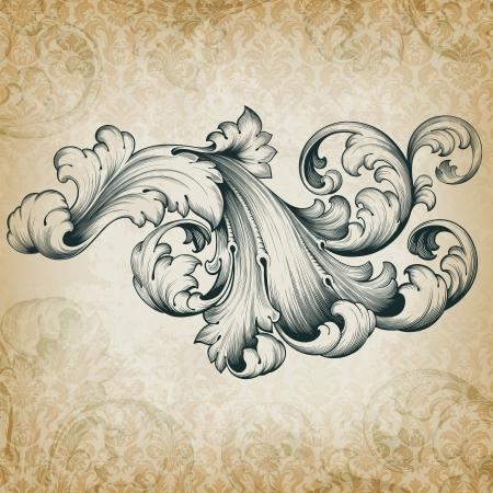 vintage baroque engraving floral scroll filigree design frame border acanthus pattern element at retro grunge damask background