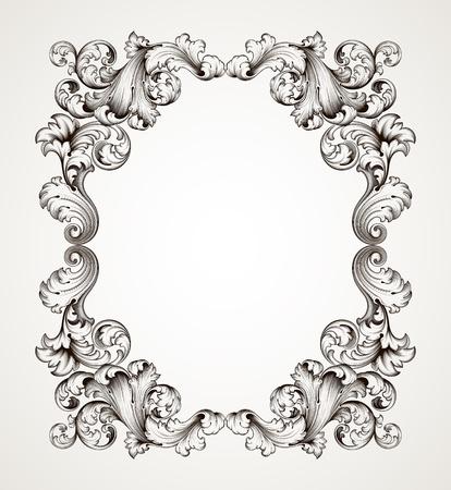 Illustration pour vector vintage border  frame engraving  with retro ornament pattern in antique baroque style decorative design   - image libre de droit