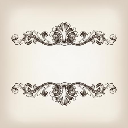 Illustration pour vintage border  frame filigree engraving  with retro ornament pattern in antique baroque style ornate decorative antique calligraphy design   - image libre de droit