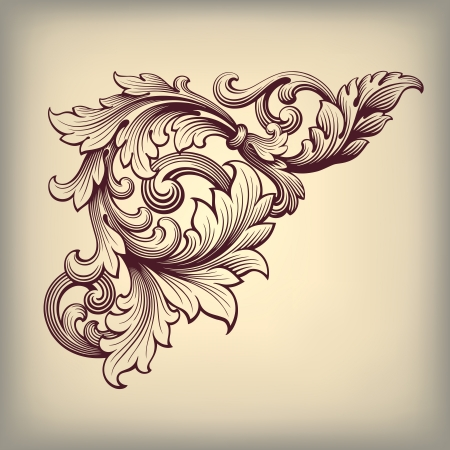 vector vintage Baroque scroll design frame corner pattern element engraving retro style ornament