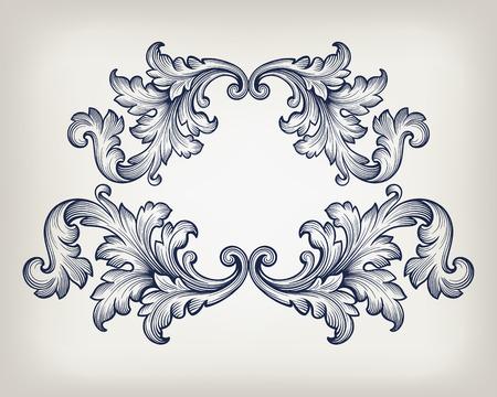 Illustration pour Vintage baroque frame scroll ornament engraving border retro pattern antique style decorative design element vector - image libre de droit