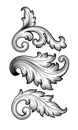 Illustration pour Vintage baroque floral scroll set foliage ornament filigree engraving retro style design element vector - image libre de droit